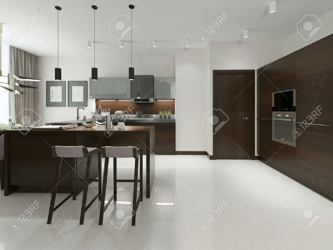 Interieur Van De Moderne Keuken Met Bar En Barkrukken ...