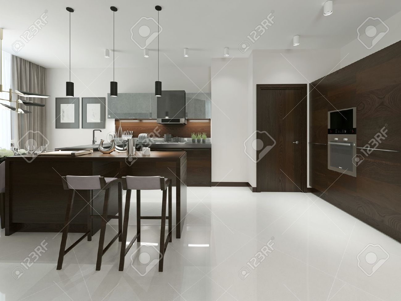 Innenraum Der Modernen Küche Mit Bar Und Barhockern. Küchenmöbel Aus ...