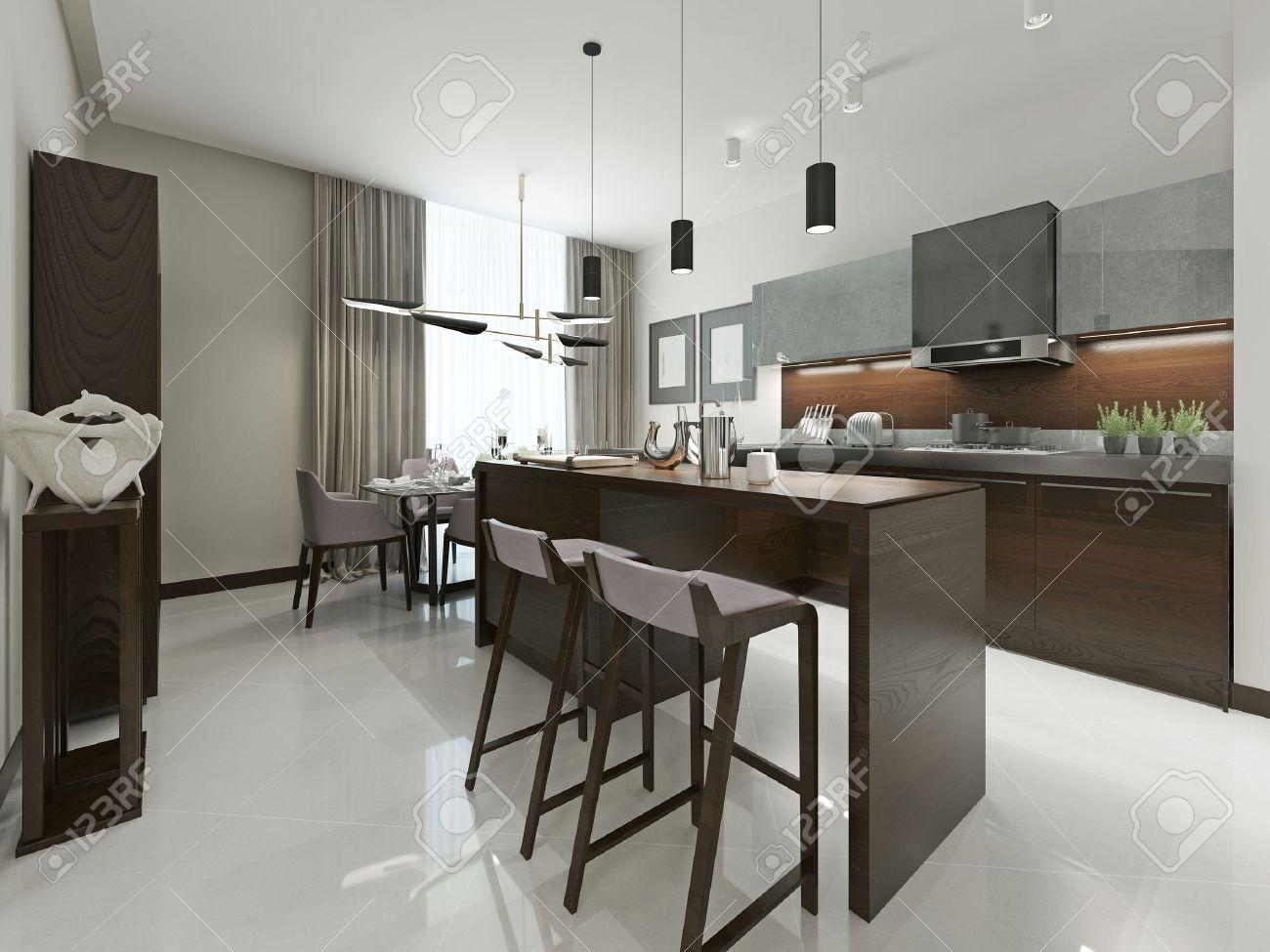 Interior Moderne Küche Mit Bar Und Barhockern. Küchenmöbel Holz Mit ...