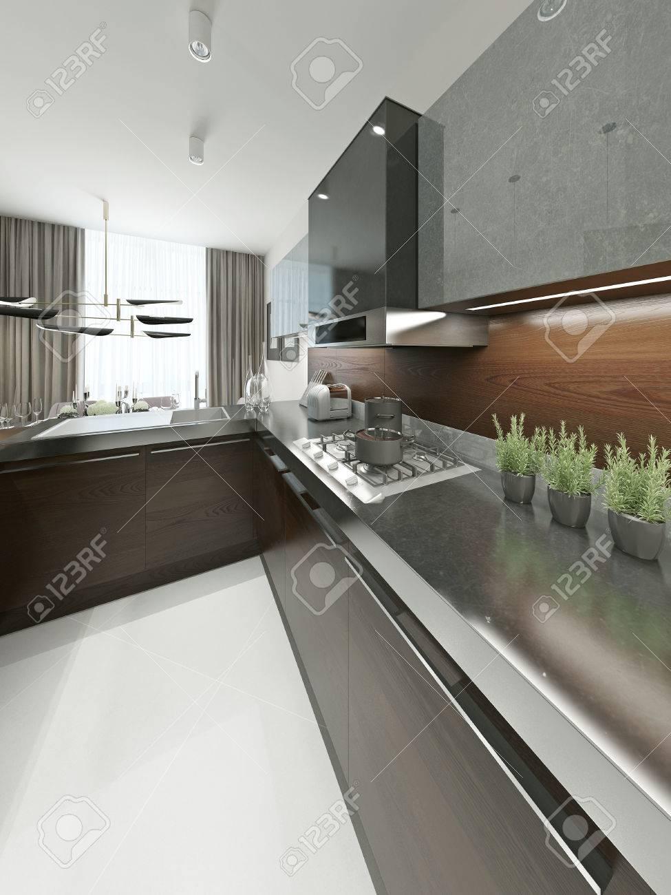 Moderne Küche Mit Metall-Arbeitsplatte. Möbel Aus Holz Und Metall ...