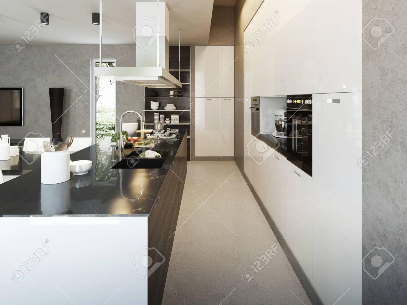 Küche Zeitgenössischen Stil, 3D-Bilder Lizenzfreie Fotos, Bilder Und ...