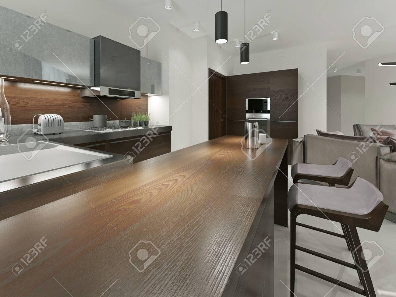 Inter Moderne Küche Mit Bar Und Barhockern. Küchenmöbel Holz Mit ...