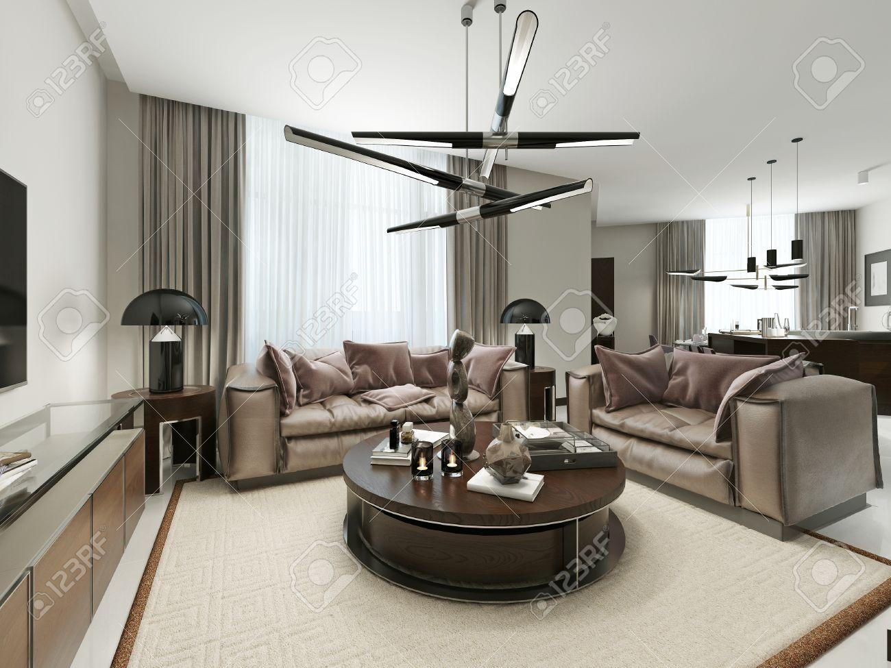 Zimmer-Studio In Einem Modernen Design. Mit Wohnzimmer, Küche Und ...