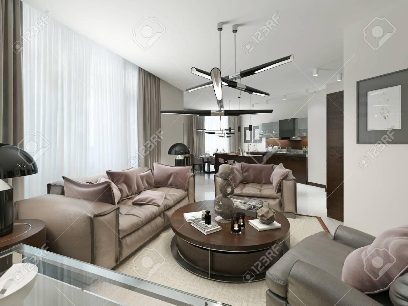 Standard Bild   Zimmer Studio In Einem Modernen Design. Mit Wohnzimmer,  Küche Und Esszimmer. Die Warmen Braun  Und Beigetönen.
