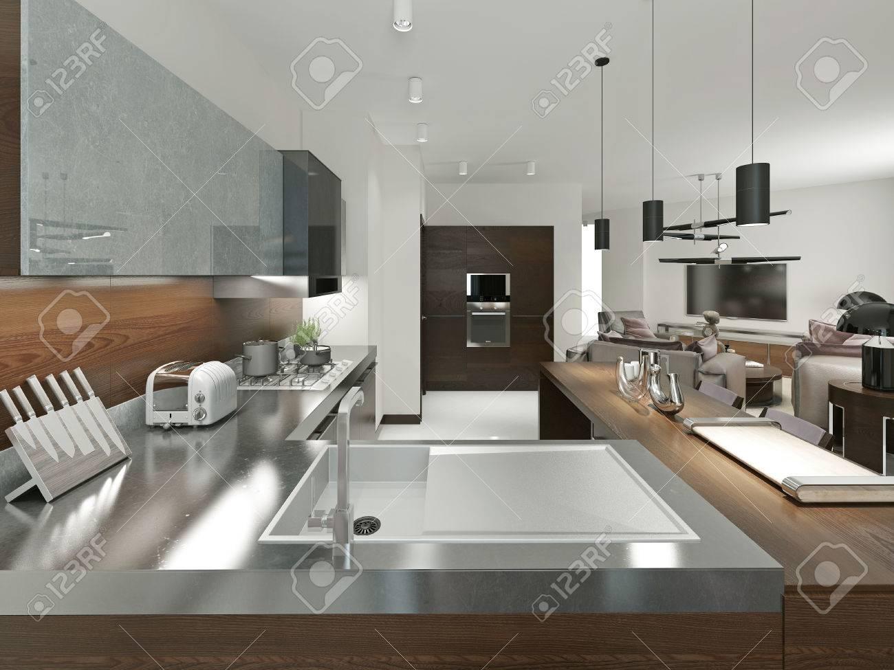 Meuble De Cuisine Bois Et Metal cuisine contemporaine avec plan de travail en métal. les meubles d'éléments  en bois et en métal. brown et gris. 3d render.