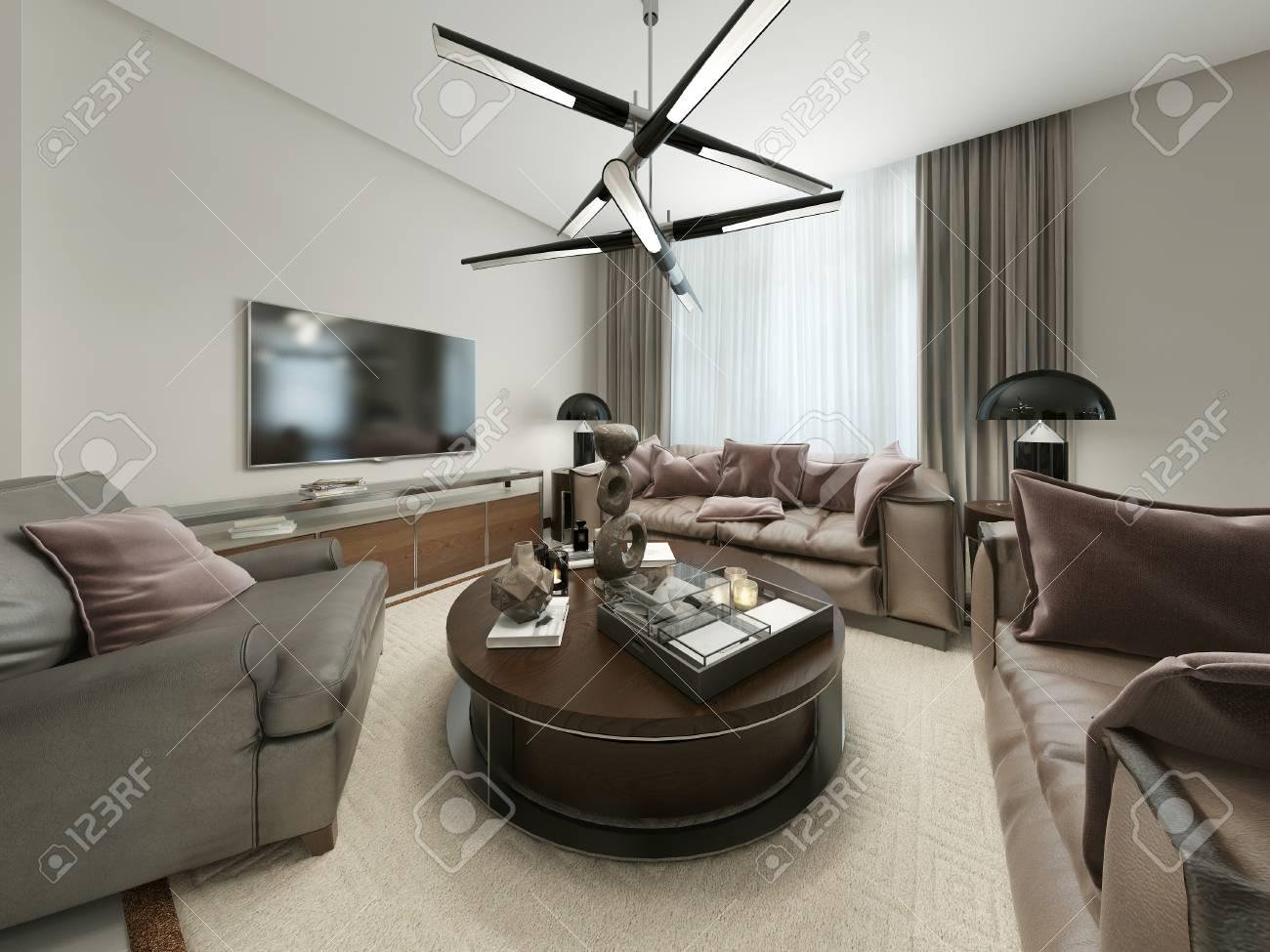 Salon moderne avec des sièges et Media Storage. Les tons chauds marron et  beige. Rendu 3D