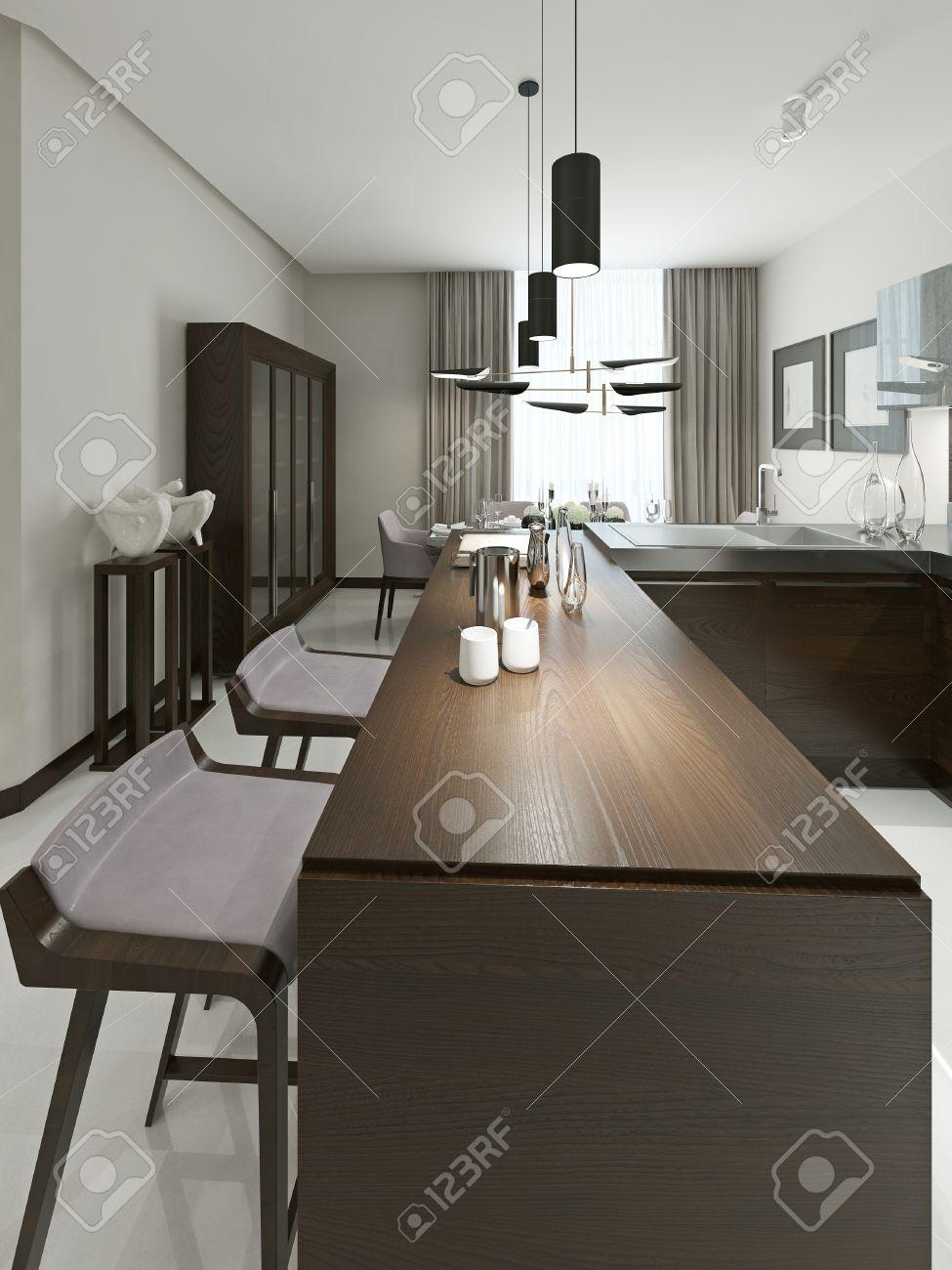 Cocina Interior Contemporáneo Con Bar Y Taburetes De Bar. Muebles De ...