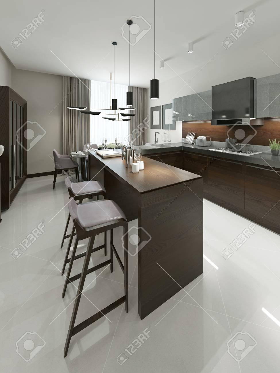 Cocina Interior contemporáneo con bar y taburetes de bar. Muebles de madera  Cocina con insertos metálicos en tonos marrones y grises. 3d.
