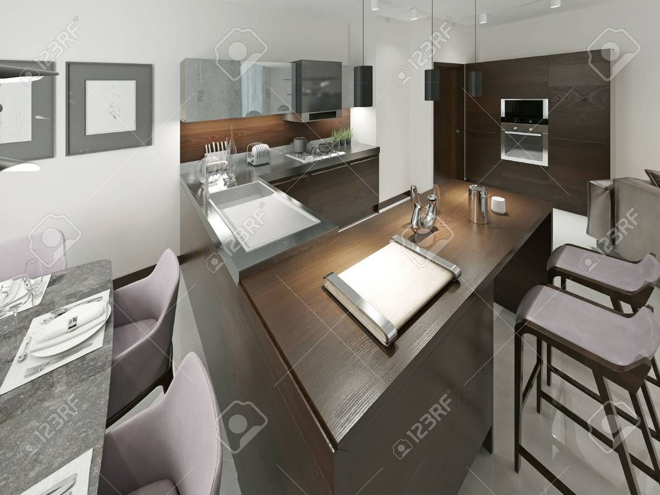 Interior de la cocina moderna con barra y taburetes. Muebles de madera  Cocina con insertos metálicos en tonos marrones y grises. 3d.