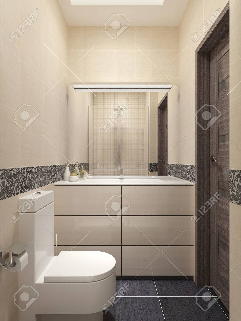 Gäste-WC In Modernem Stil. 3D-Visualisierung Lizenzfreie Fotos ...