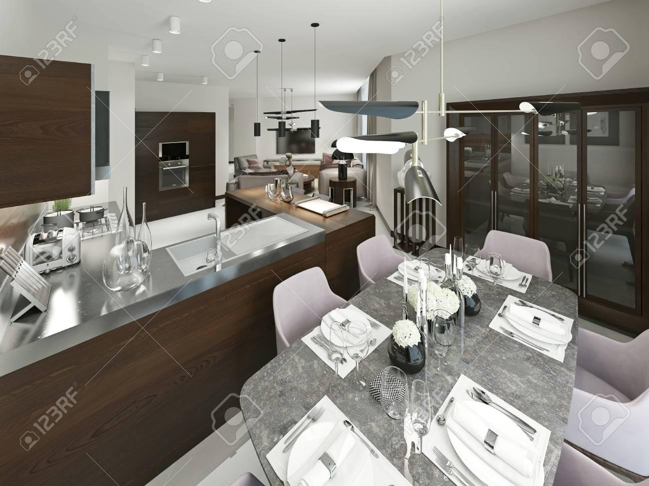 Banque Du0027images   Salle à Manger Et Cuisine Modernes. Beau Mobilier Moderne  A Des Couleurs Douces, Marron, Beige Et Gris. Rendu 3D