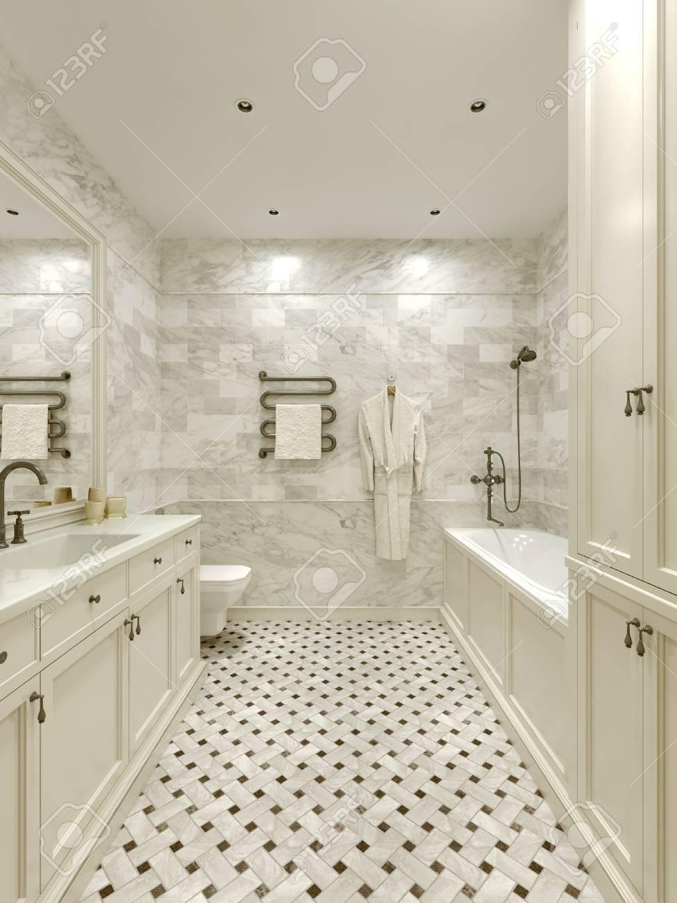 Cuarto de baño de estilo clásico, imágenes 3d