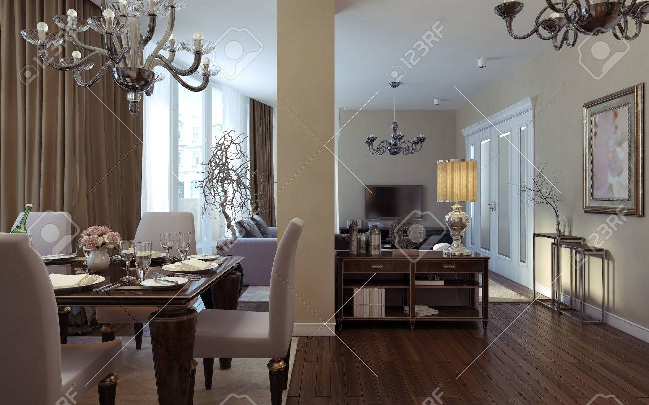 Antique And Art Deco Living Room. 3D Images Stock Photo   47428235