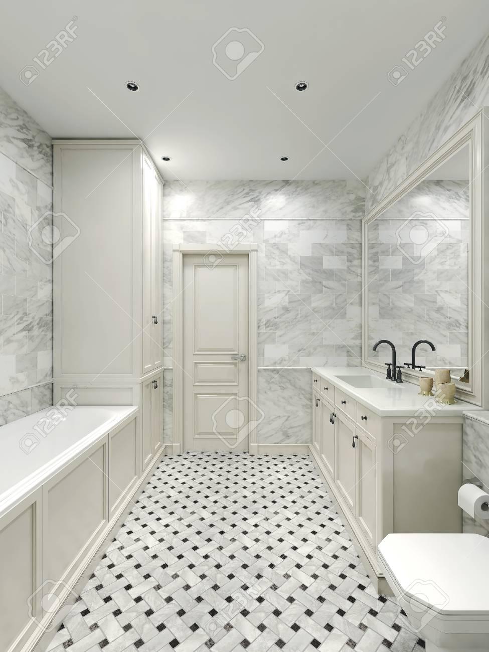 Salle de bains de style Art Déco, images 3D