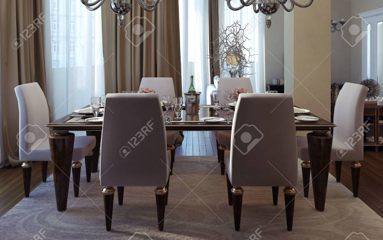 Antique and art deco dining room. 3D images