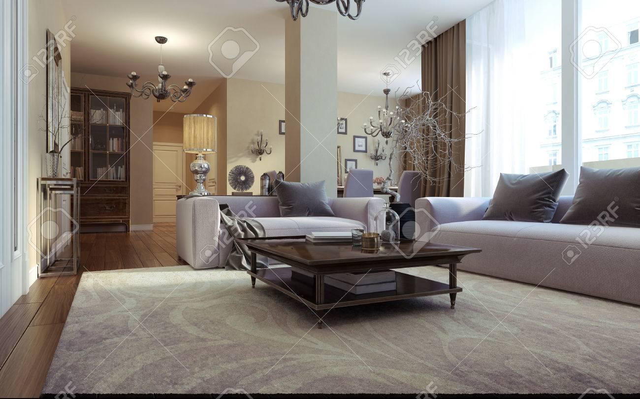 Salon art déco chambre et de style moderne. images 3D