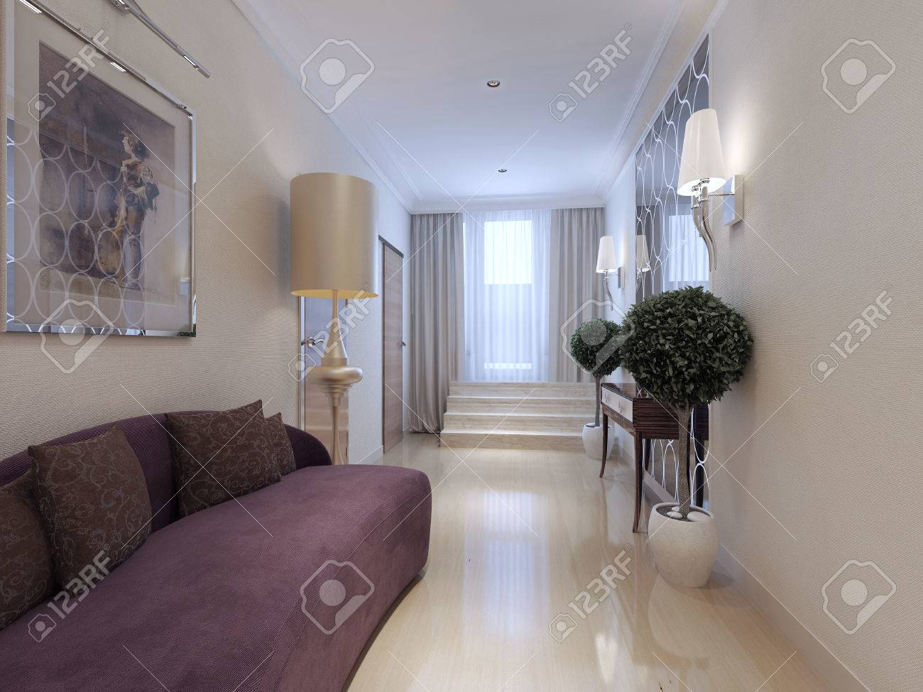 Corridor art deco style d render stock photo picture and