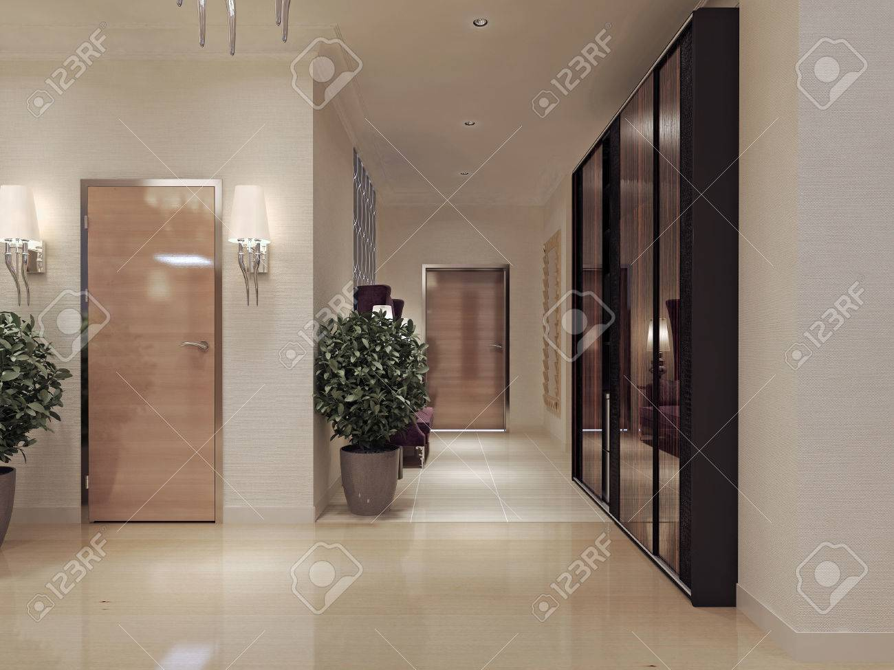 Corridor art deco style. 3d render stock photo picture and royalty
