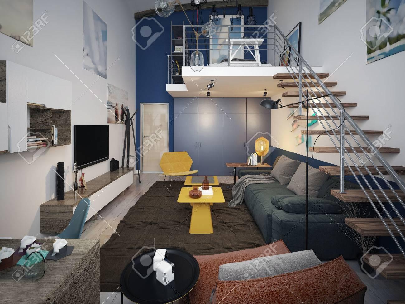 Wohnzimmer Zeitgenössischen Stil. 3D-Darstellung Lizenzfreie Fotos ...