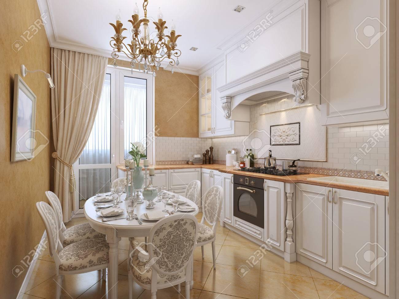 Küche Im Klassischen Stil Mit Einem Esstisch. Die Weißen Und ...