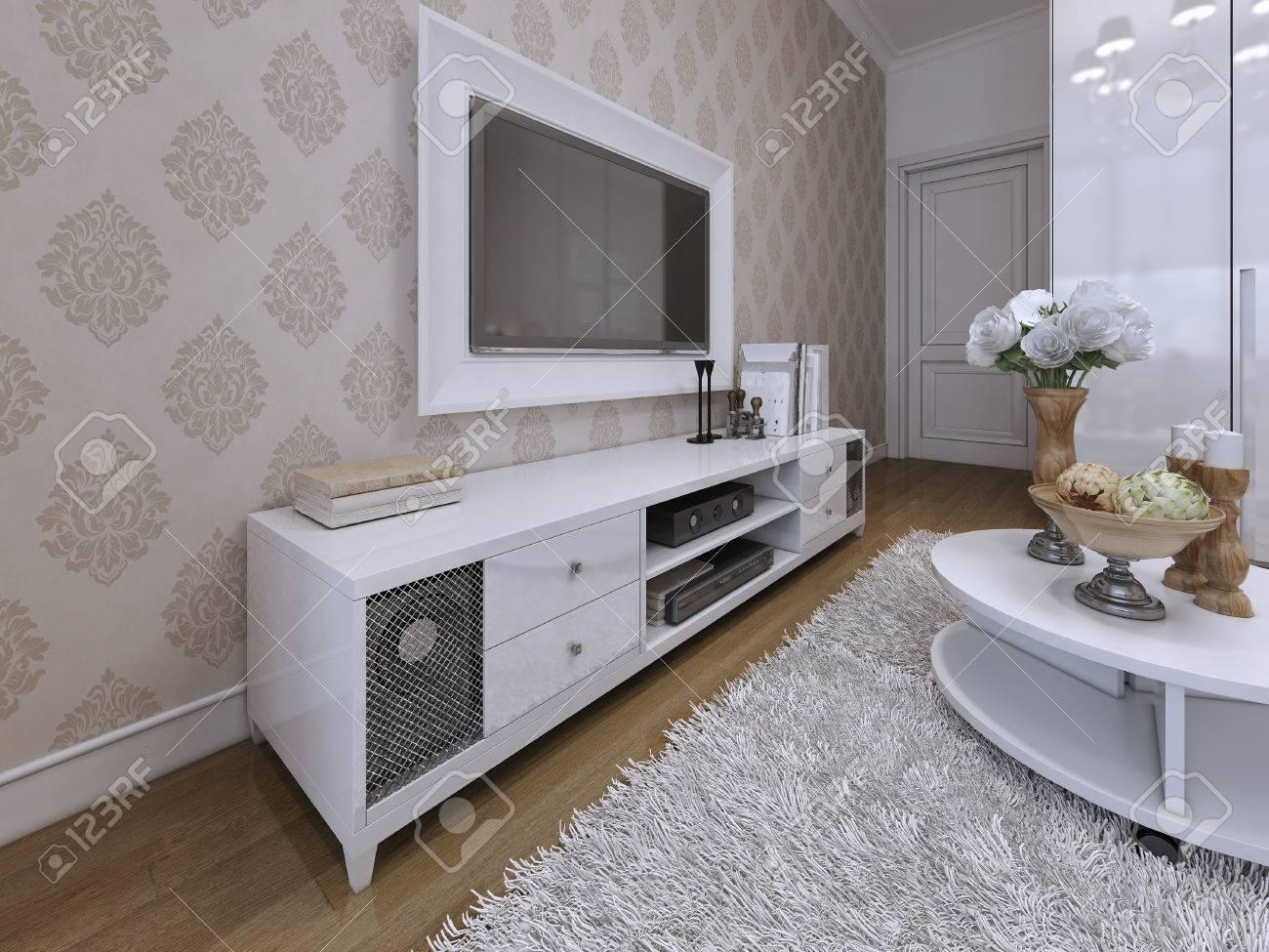 Meuble Tv Avec Un Téléviseur Sur Le Mur Dans Un Cadre Blanc Style