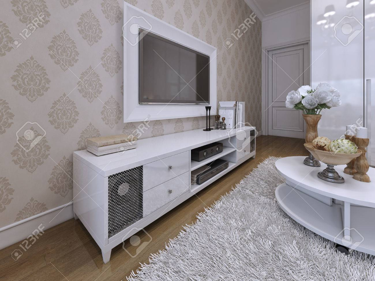 Tv Unit With A Tv On The Wall In A White Frame Modern And Art Stock Photo Picture And Royalty Free Image Image 47410307