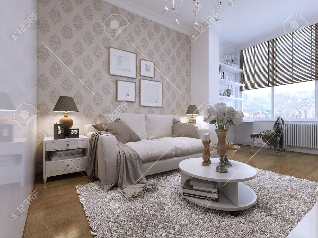 Habitación Con Unos Lindos Y Cómodos Sofás En El Estilo Art Deco ...