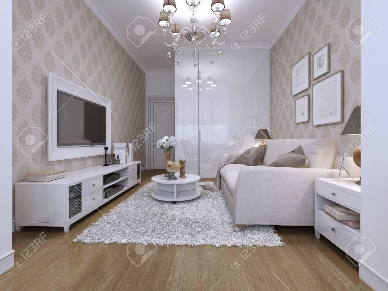 Chambre d\'hôtes dans un style moderne avec du papier peint classique. Le  blanc et le beige. Rendu 3D.
