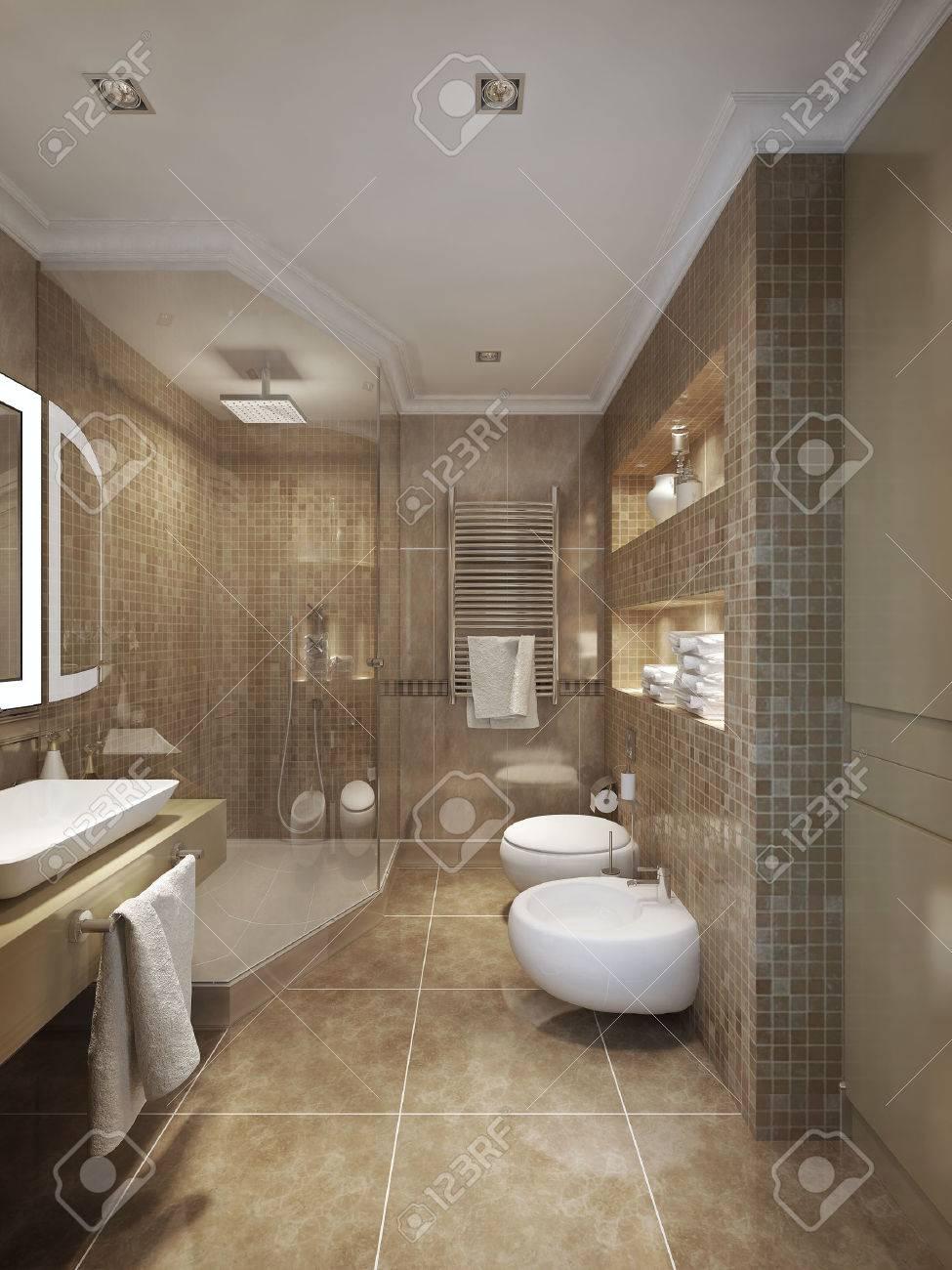 klassischen stil badezimmer. 3d-visualisierung lizenzfreie fotos, Badezimmer ideen