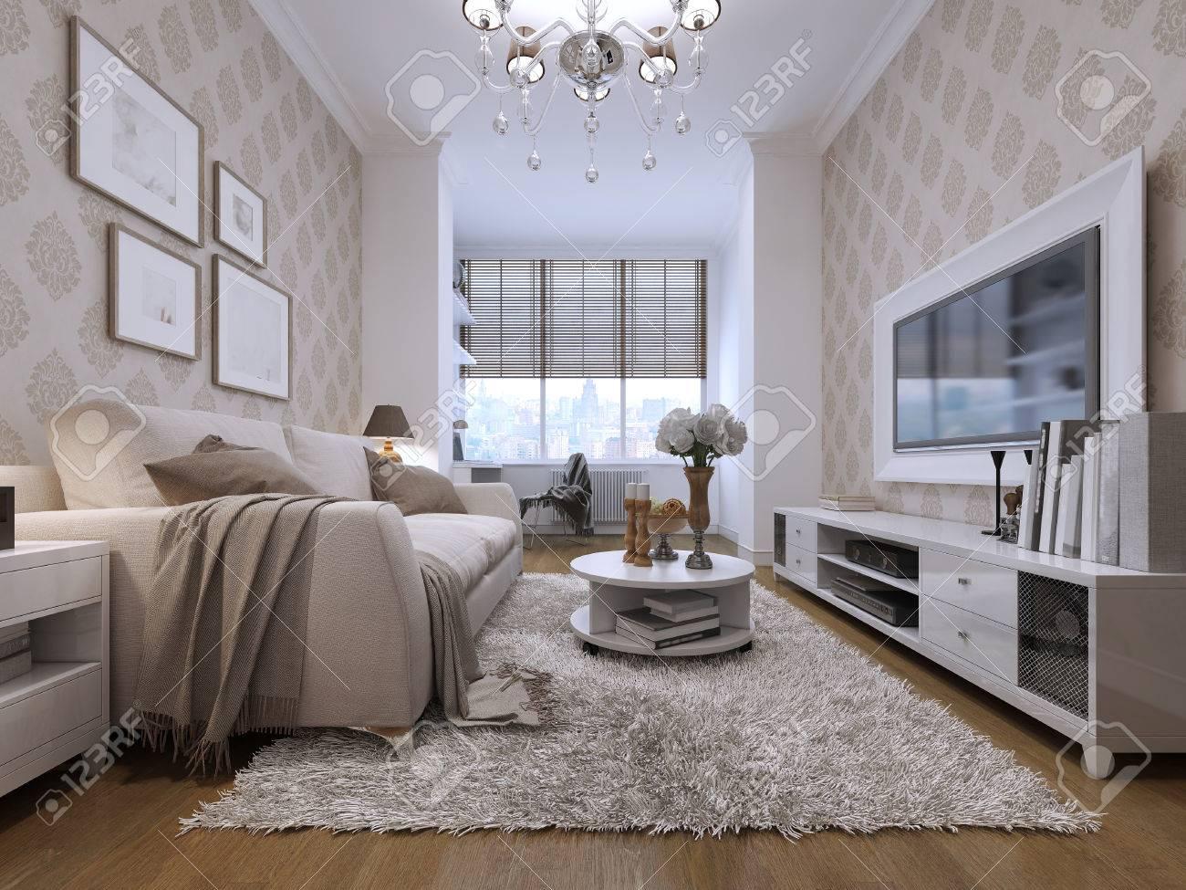 Die Zimmer Im Art-Deco-Stil. Mit Media-System Mit TV In Einem Weißen ...