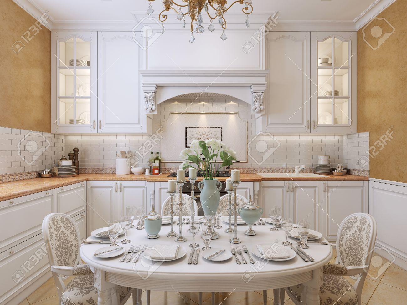 Diseño De La Cocina De Lujo En Estilo Clásico. Con Muebles Blancos Y ...