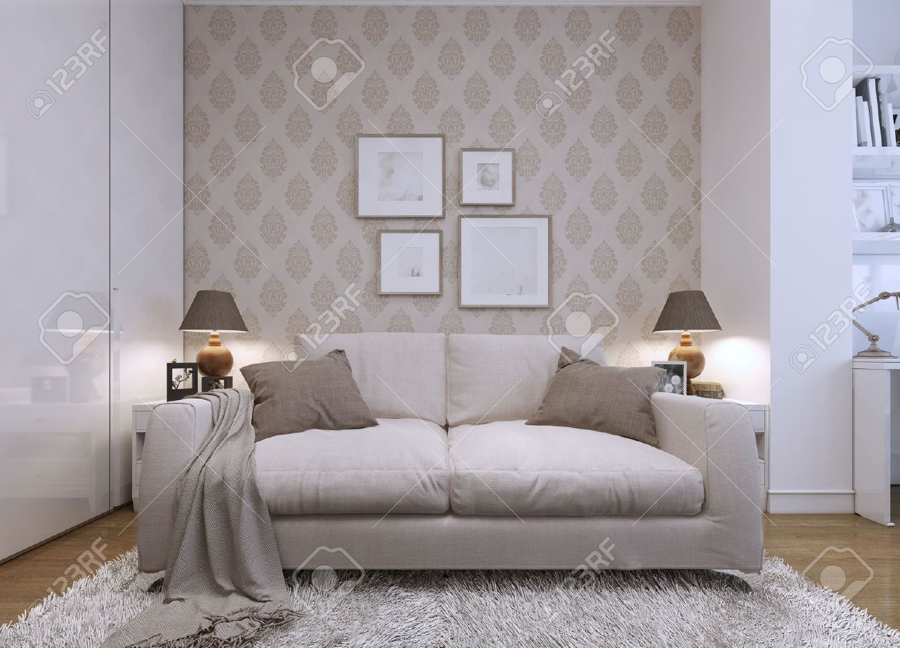 Beige Sofa Im Wohnzimmer In Einem Modernen Stil. Tapeten An Den Wänden Mit  Einem Muster
