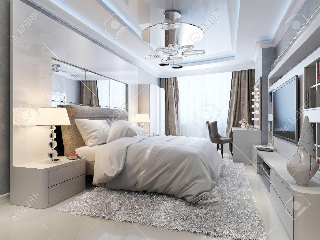 Bedroom art deco style, 3d picture