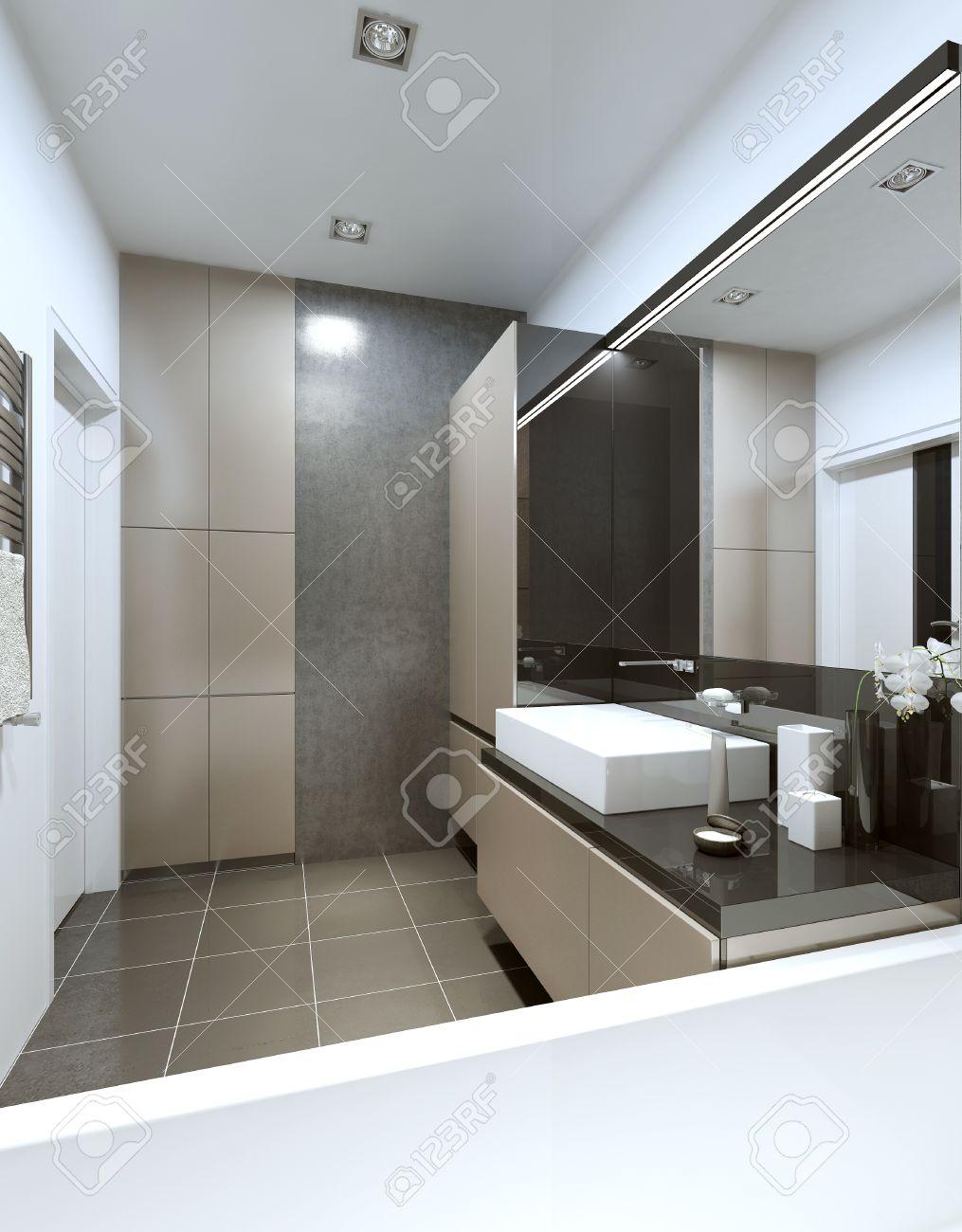 Salle de bains moderne avec beige et mobilier gris et un plancher en béton  et les murs. Rendu 3D.