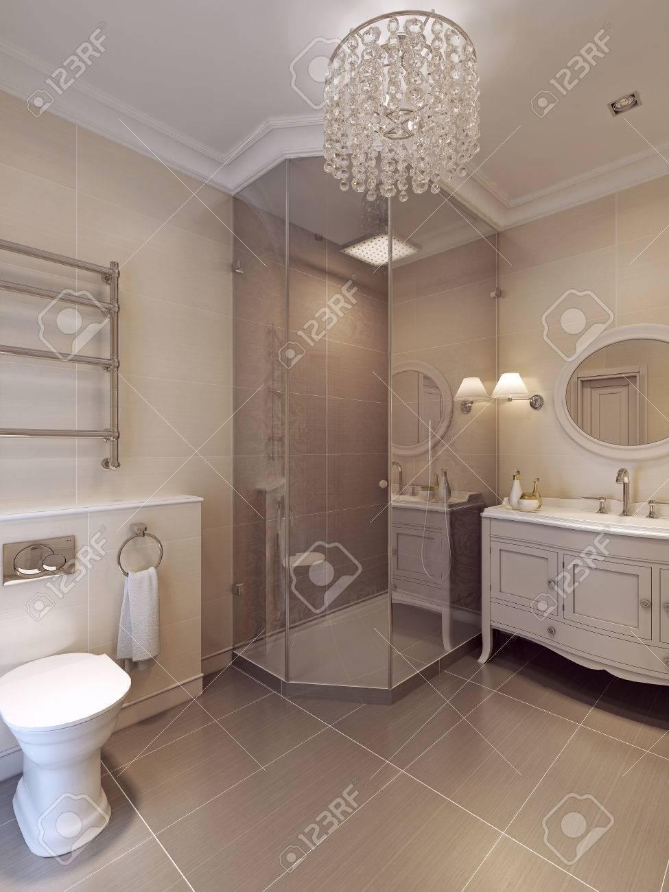 Ein Bad In Modernem Stil. Fliesenmuster In Braun Und Beige Farben. 3D  übertragen.