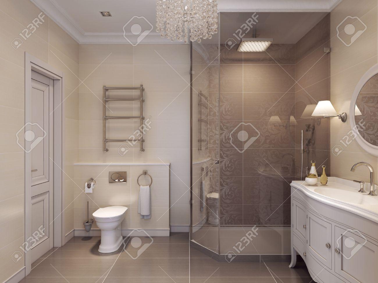 Salle de bains luxueuse dans le style art déco. Beau motif de carreaux en  marron et beige. Rendu 3D.