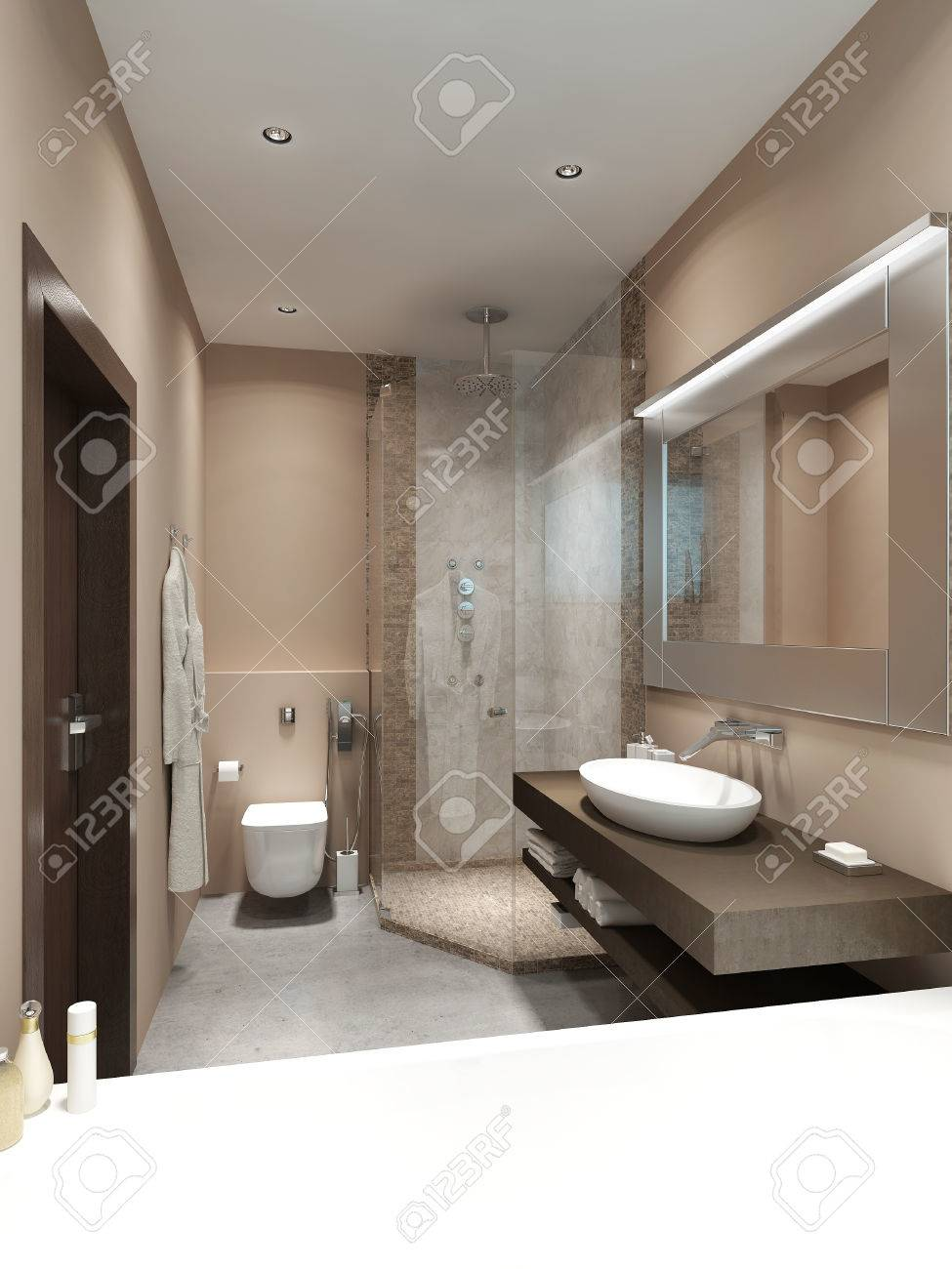 Design dans les salles de bains de style contemporain. Avec douche et  mosaïque sur les murs. Couleurs marron et beige. Rendu 3D.