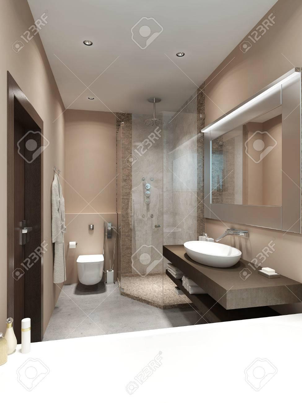 ideas de baño marrón y crema Diseo En Los Baos De Estilo Contemporneo Con Azulejos De La Ducha Y Mosaico En Las Paredes Marrn Y Beige Render 3D