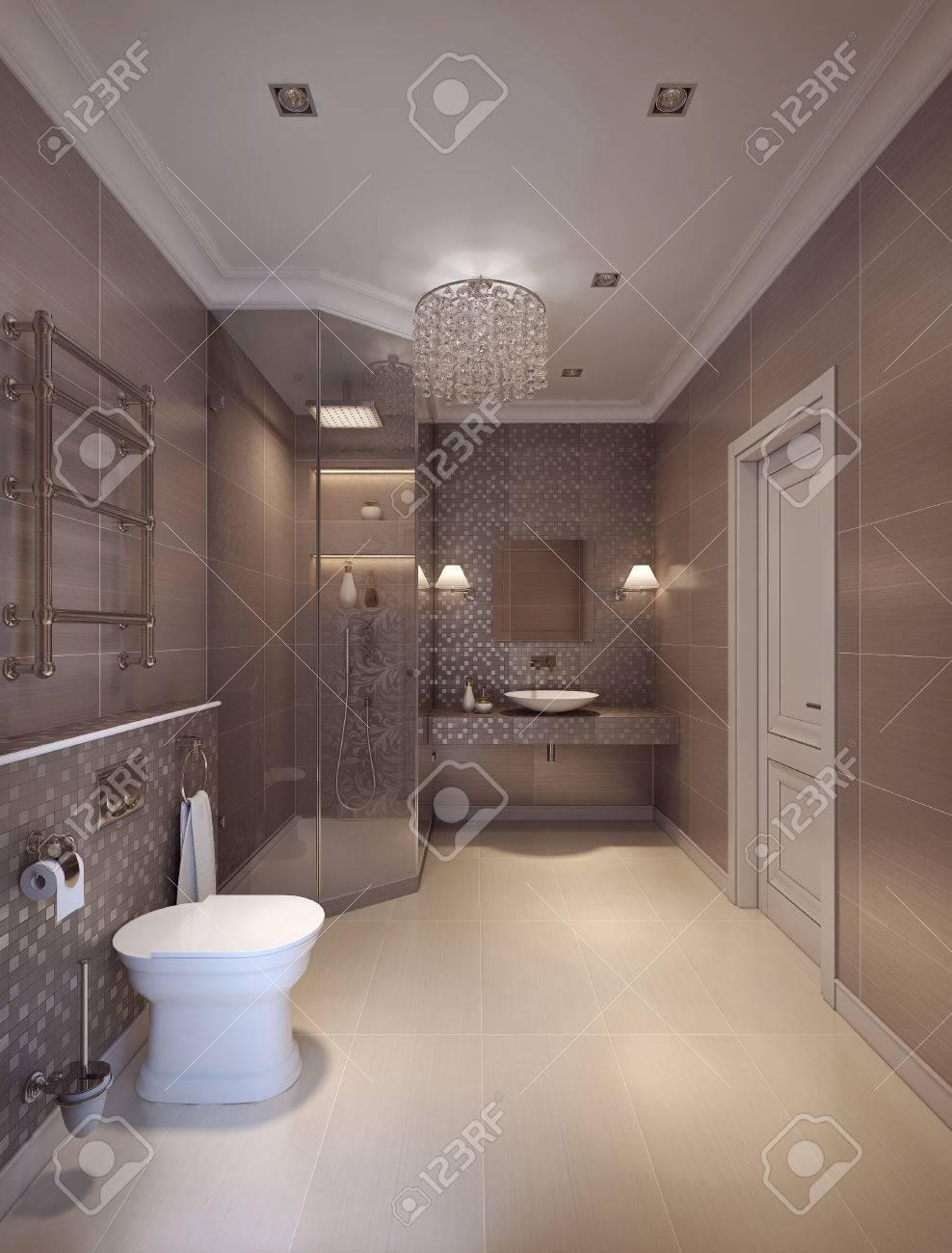 Une salle de bain dans un style moderne. Les murs de la tuile marron et le  motif de mosaïque. Rendu 3D