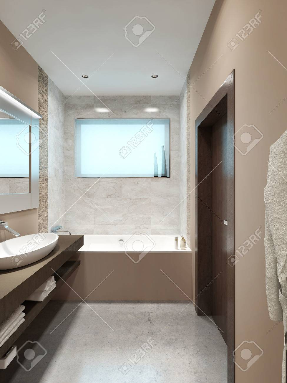 bagni di design moderni con una piccola finestra con i colori ... - Bagni Moderni Marroni