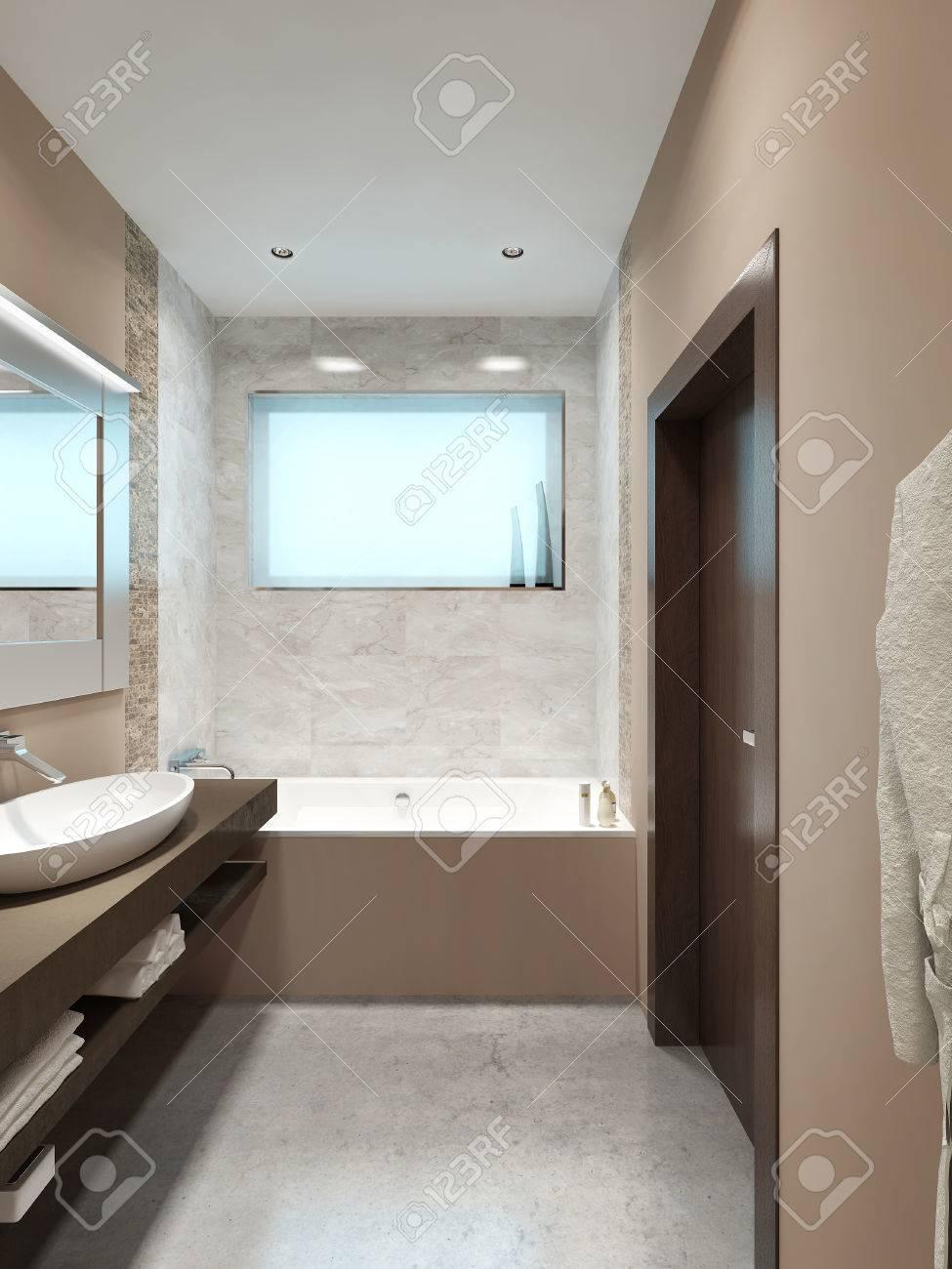 Salle de bains design moderne avec une petite fenêtre aux couleurs orange,  jaune et marron. Rendu 3D.