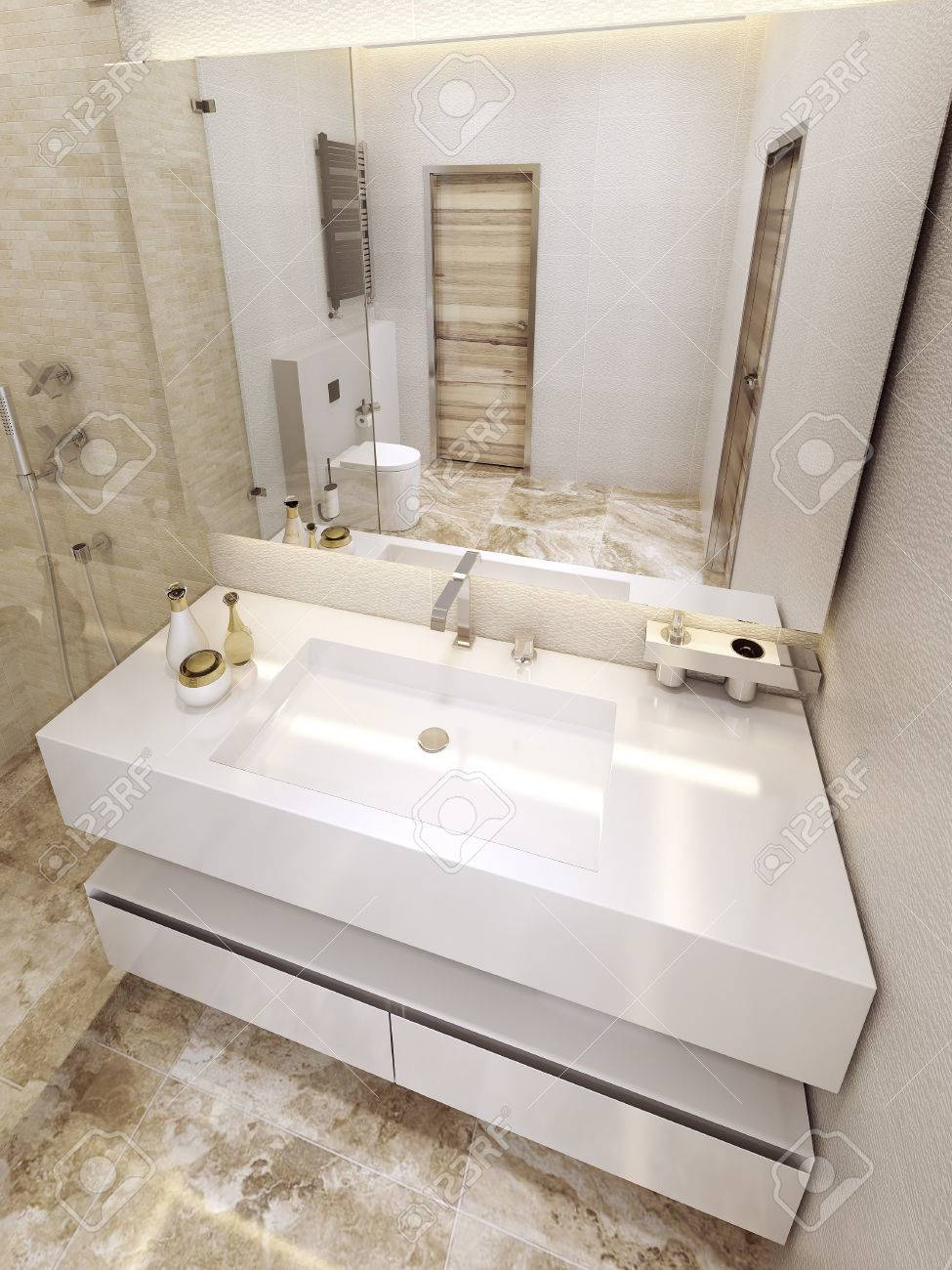 Modern Bathroom In 5 Star Hotel. Luxurious Design In White And ...