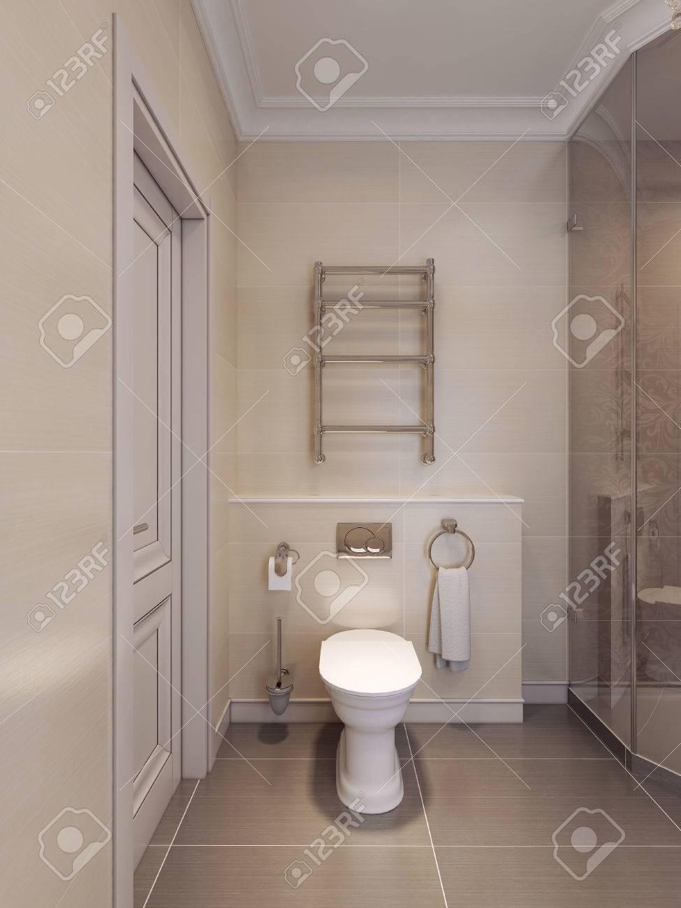 AuBergewohnlich WC Im Art Deco Stil. Brown Und Beige Fliesen An Den Wänden Und