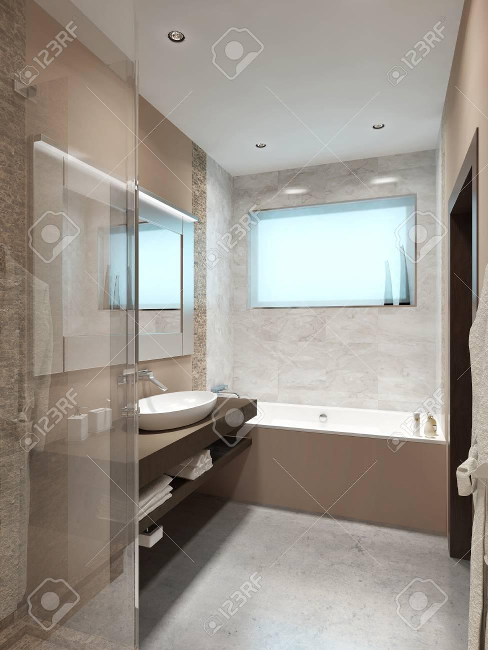 Schöne Badezimmer In Der Art Hallo-Tech. Mit Dusche Und WC. Braun ...