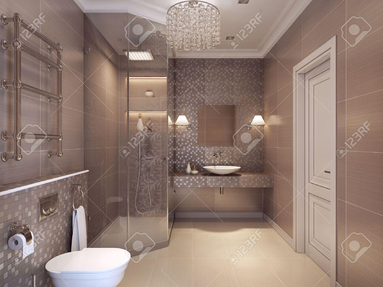 Salle de bains moderne dans le style art déco. Douche, WC et lavabo  Konsoles. Rendu 3D.