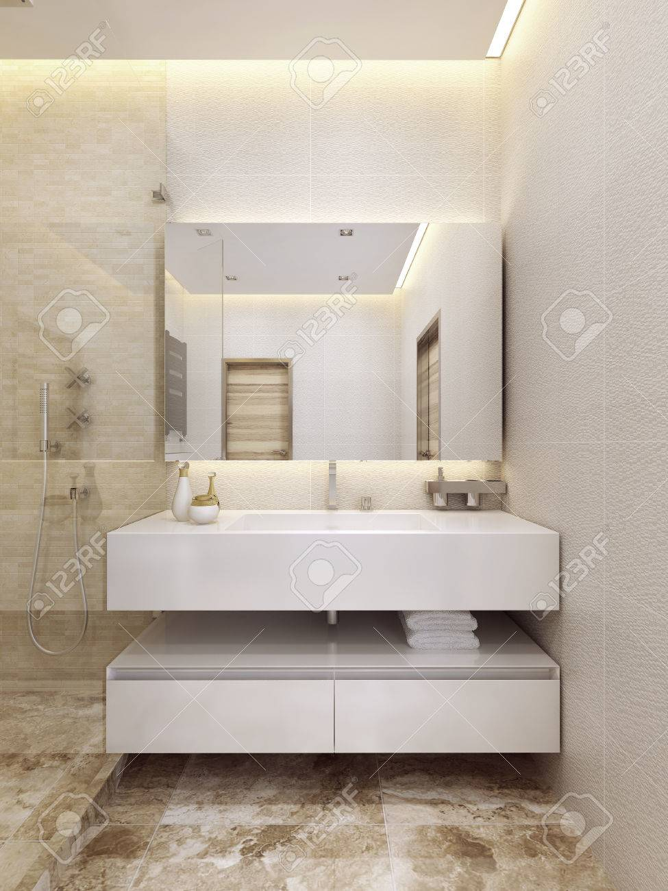 Contemporary Sink Console In White Color With A Shelf. Minimalism ...