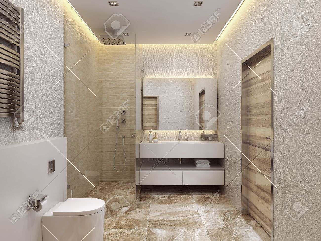 Design Modern Stil Badrum. Dusch Och Toalett. Den Gula, Vita Och ...