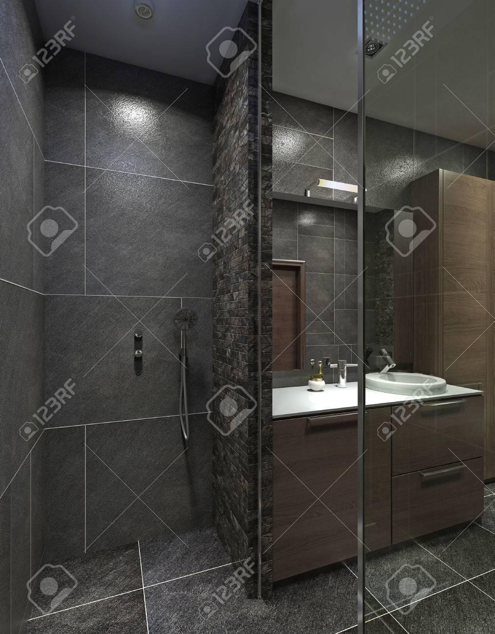 L\'idée d\'une salle de bain avec une douche et une console de lavabo. Dans  le style du constructivisme. Le noir, gris et brun. Rendu 3D.