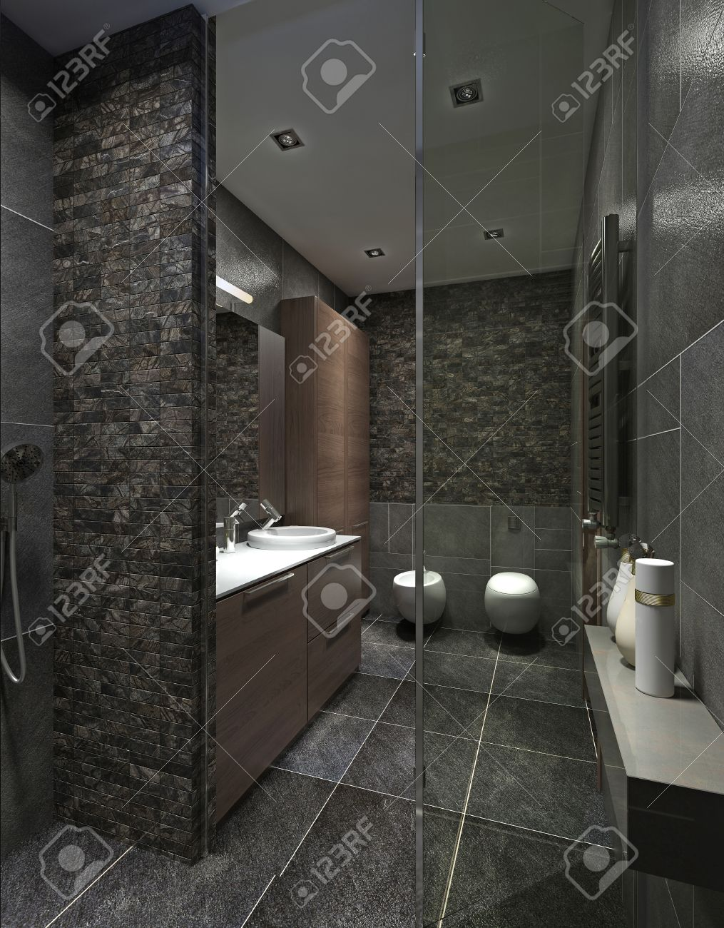 Cuarto De Baño Moderno En Azulejo Negro, Mosaico Y Muebles De Color ...