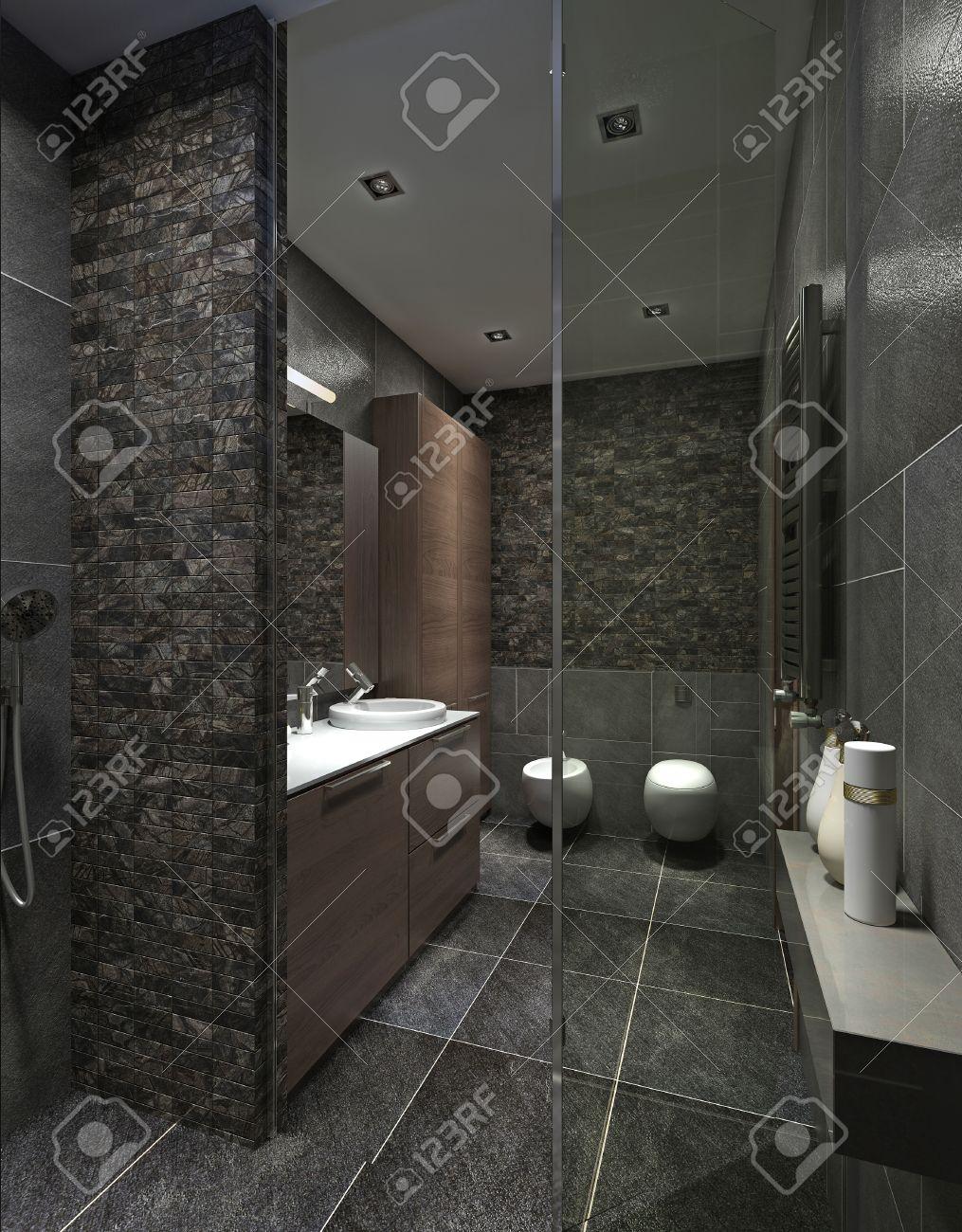 Salle de bains moderne en carrelage noir, mosaïque et mobilier marron. Avec  douche, WC, WC et bidet. Rendu 3D.
